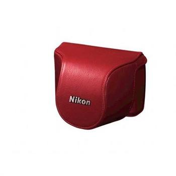 Nikon 1 J1, NIKKOR VR 10-30 mm Läderväska CB-N1000SD - Röd