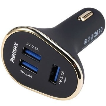 Remax Smart 3-Portars USB Billaddare - Svart